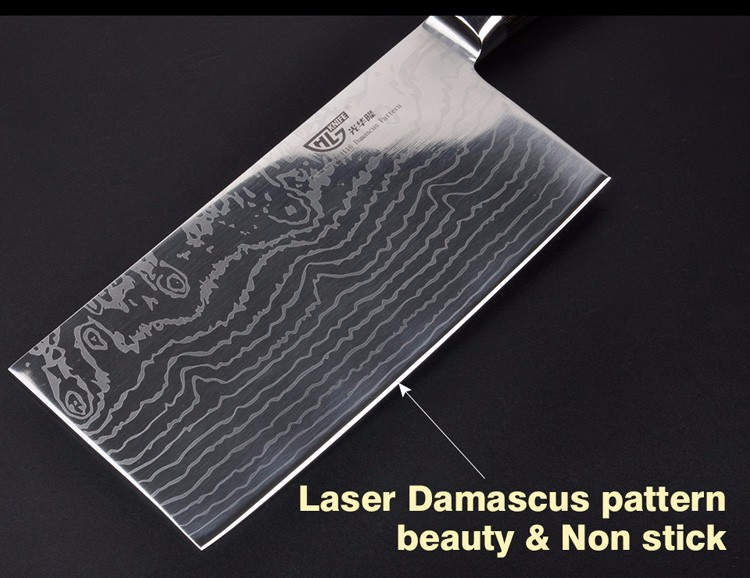 "Buy 7 ""inch damascus kitchen knife professional cleaver chopper kitchen stainless steel brank Damascus Japanese free shipping cheap"
