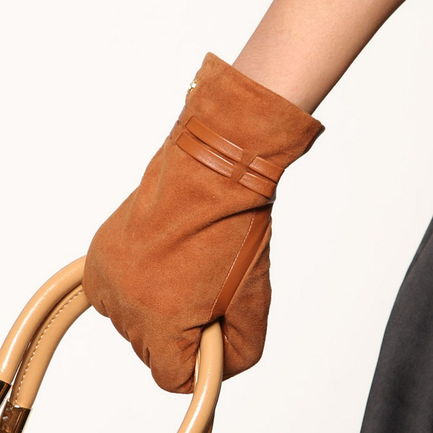 Special Offer 2016 Rushed Women Genuine Leather Suede Gloves Solid Wrist Winter Fashion Five Finger Glove Hot Sale El004nc(China (Mainland))