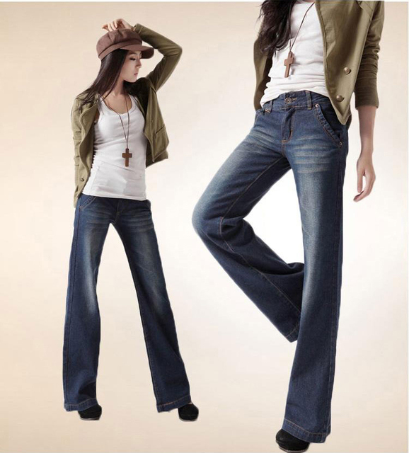 Promotion Plus Размер Женщины Boot Cut Джинса Girls High Талия Wide Leg Джинса Брюки ...