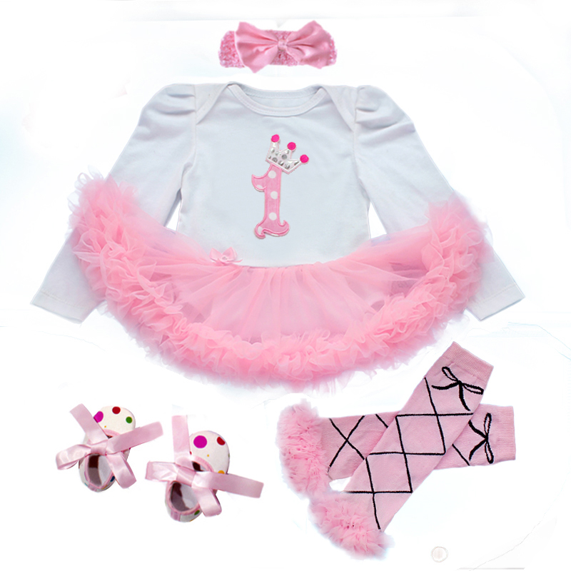 1 st Girl Bodysuits Baby Baptism Dresses Birthday Girls Dress Cute Kid Clothing Tutu Flower Long Sleeve Clothes Summer Style(China (Mainland))