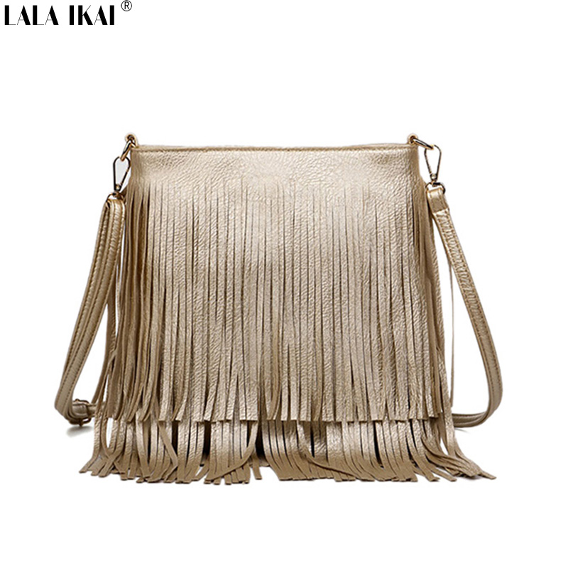 LALA IKAI New Fashion Fringe Bag Gold Crossbody Bags Classic Women Shoulder Bags Casual Tote with Tassels Messenger BWB0885-45(China (Mainland))