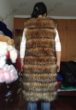 Faux Fox Mink Fur Vest Women 2015 Winter New Fashion Slims Super Long Fake Fur Vests Furry Vest Female Abrigos Mujer Red Color(China (Mainland))