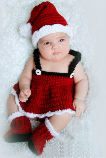 Baby Hand Knitted Christmas Dress Children Lovely Photography Clothes Photo Shoot Clothes with Hat Newborn Photography Props(China (Mainland))