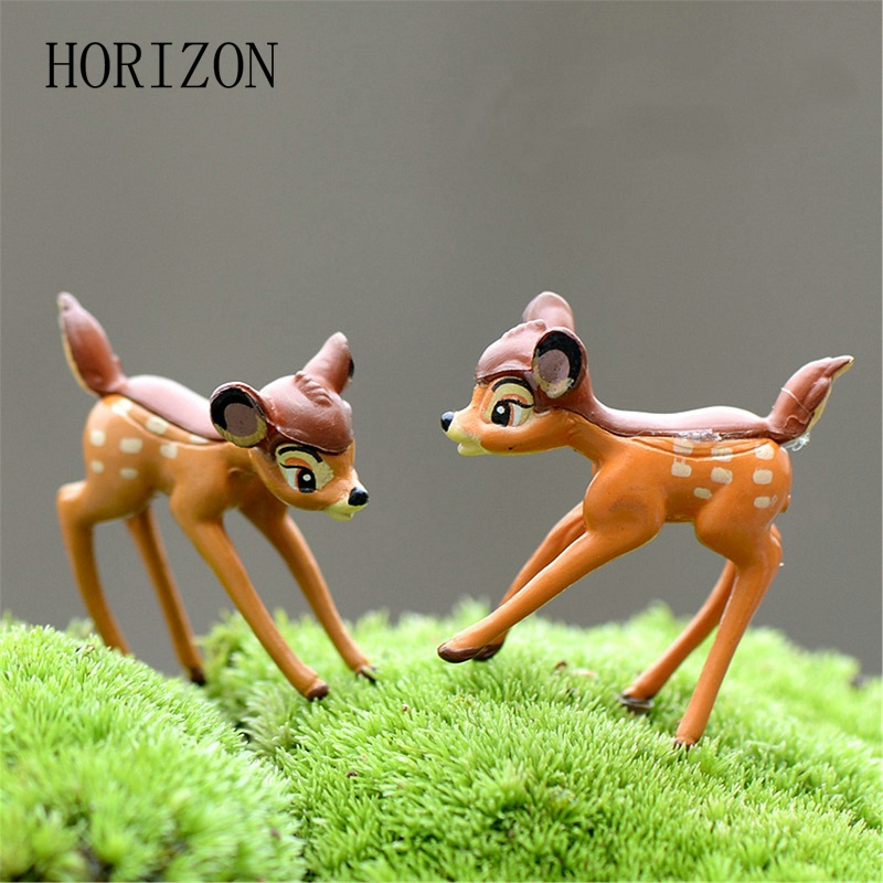 2pcs/lot Artificial mini sika deer fairy garden miniatures gnomes moss terrariums resin crafts figurines for home decoration(China (Mainland))