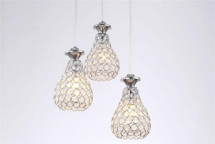 Фотография minimalist glass dining restaurant chandelier three light cup or gourd cucurbit pattern crystal lampshade lampara colgante