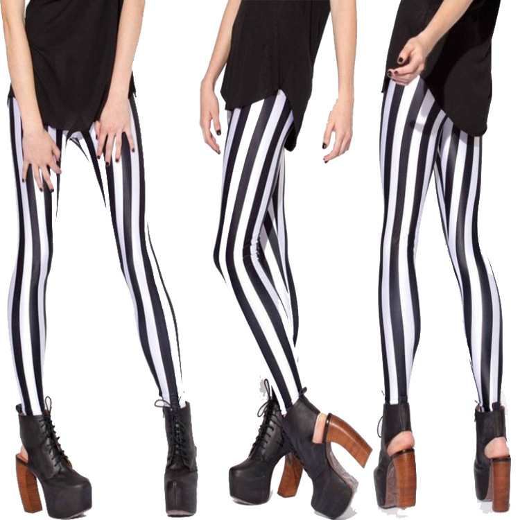 2016 Hot New Women Autumn black milk black and white stripes sky digital Leggings female pencil pants Gaiters Capris Boothose