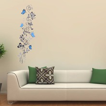 Buy Modern Wall Plant PVC Butterfly Wall Sticker Home decor Flower Wall Stickers Waterproof Removable Original Size 50*70CM for $4.41 in AliExpress store