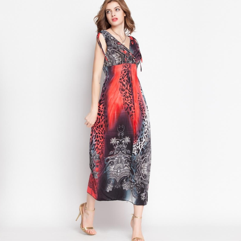 Bohemian Halter Dress Summer 2015 New Product Color Pattern Casual Sexy Maxi Dress High Quality Variety Of Colors Red(China (Mainland))