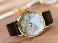 3 colors available holiday gift good quality fashion quartz watch women ladies men leather map wristwatch J0921