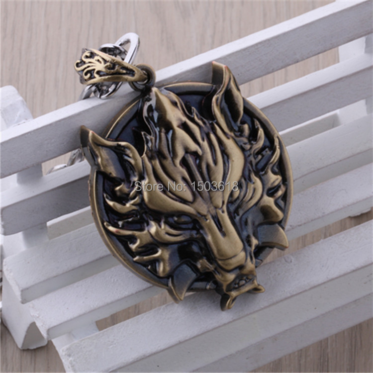 Final Fantasy wolf head animation necklace wholesale punk style alloy metal pendant necklaces cool accessories men jewelry(China (Mainland))