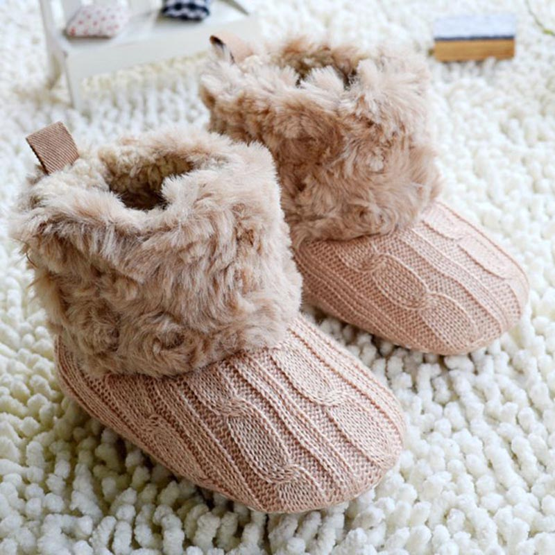 Hot Baby Shoes Infants Crochet Knit Fleece Boots Toddler Girl Boy Wool Snow Crib Shoes Winter Booties(China (Mainland))