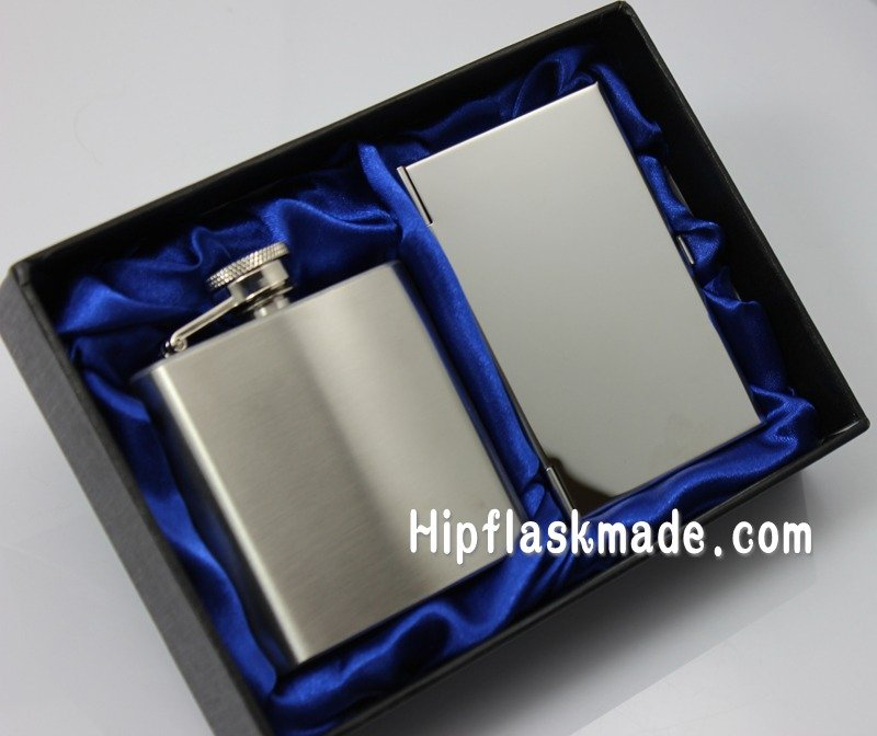 Business card holder with 3oz hip flask packing in silk lined gift box(China (Mainland))
