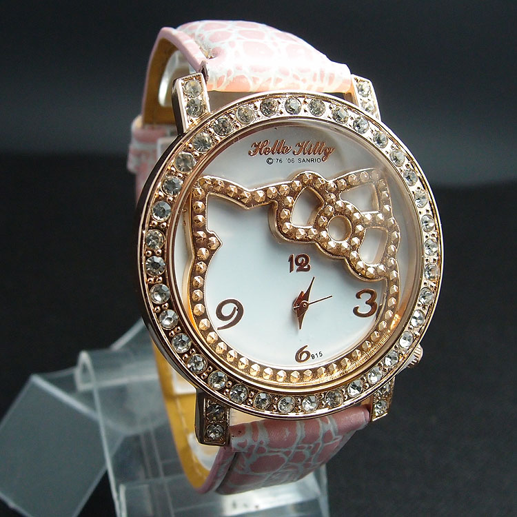 Hot sale Hello kitty crystal watch Children Women quartz wrist watch wholesale(China (Mainland))