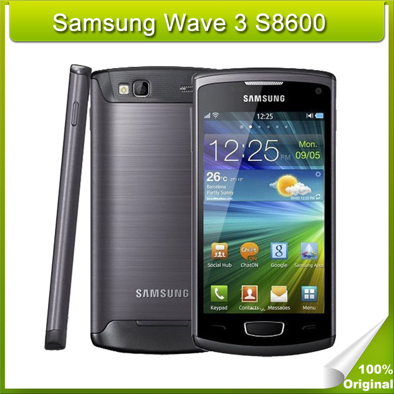 Original Samsung Wave 3 S8600 Smartphone 4 Inch Touchscreen 5MP Android Cellphone 4GB ROM 3G WCDMA Network(China (Mainland))