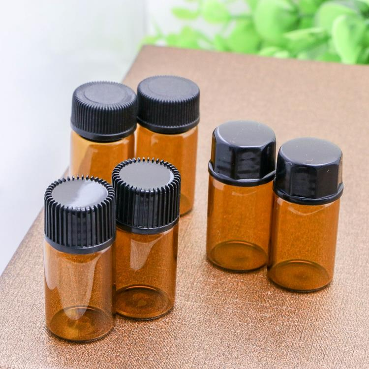 Free Shipping 50 X3CC Amber Sample Vial 3ML Mini Amber Glass Essential Oil Bottle With A No Hole Plug & Round Cap( Like CAP: A)(China (Mainland))