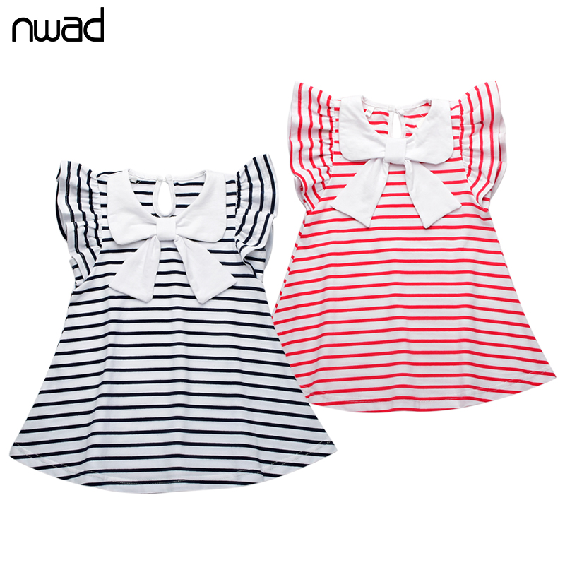 Baby Girl Striped Dress 2016 New Brand Princess Bow Toddler Girls Dresses Summer Sleeveless Baby Kids Cotton Clothing FA004(China (Mainland))