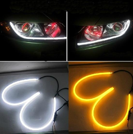 One-pair 2x45cm White Amber Tube Switchback Headlight car LED Strip For Audi Style car lightFree Shipping(China (Mainland))