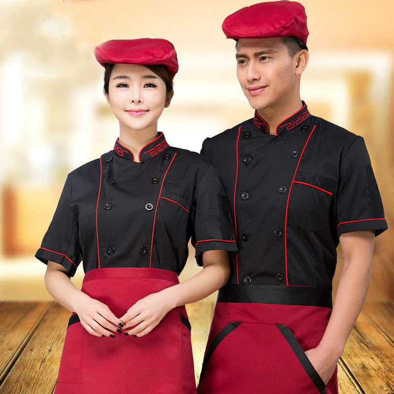 New Design Black Cook Uniform Health Services Chef Service Short Sleeve Chef Uniform Double-breasted Tops for Women/ Men(China (Mainland))
