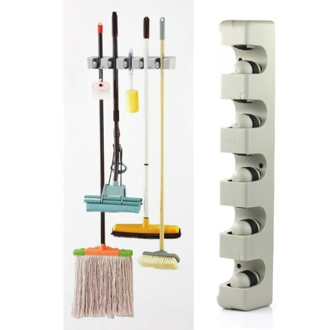 Free Shipping 5 Position Kitchen Storage Mop Broom Holder Tool Plastic Wall Mounted #gib(China (Mainland))