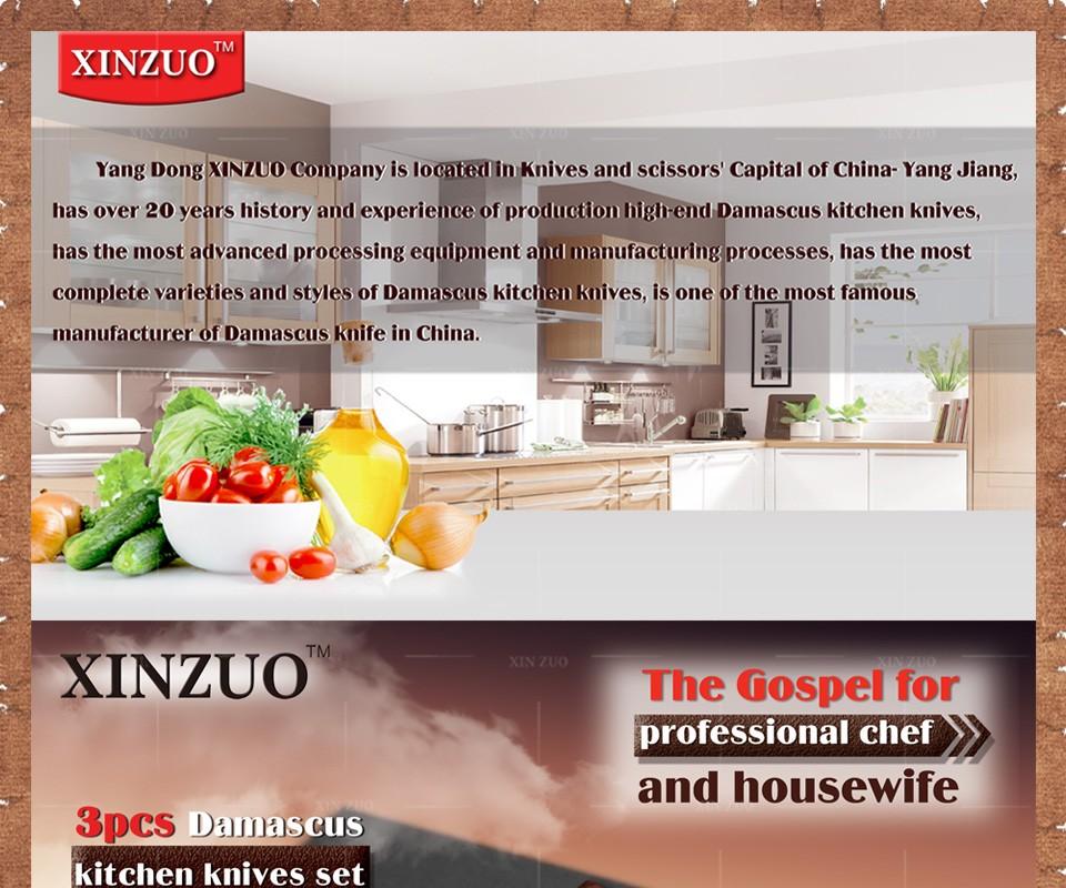 Buy XINZUO 3 pcs Kitchen knives set Japanese Damascus kitchen knife surper sharp chef knife santoku Color wood handle free shipping cheap