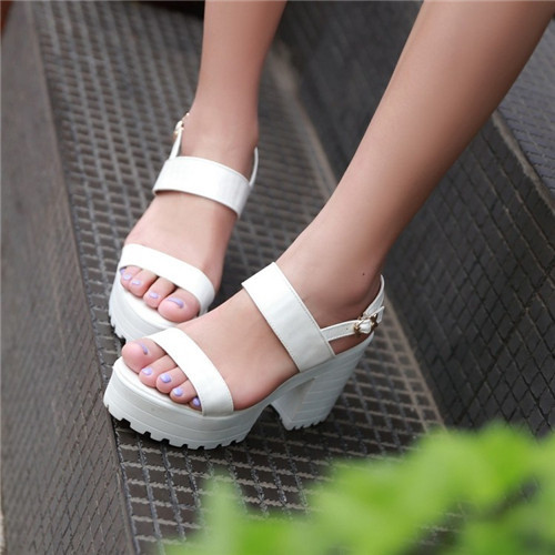 Summer New Womens Ankle Strap Block Chunky Square High Heel Platform Rome Sandals Shoes US4.5-8 4 Colors - Shop639677 Store store