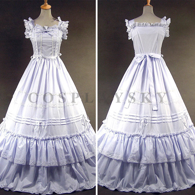White Sleeveless Cotton Classic Elegant Lolita Dress Одежда и ак�е��уары<br><br><br>Aliexpress