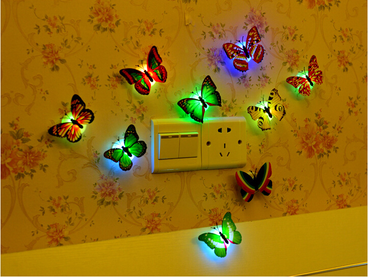 Creative Small Multicolor Butterfly Night Light Funny Baby Bedside Lamp Wall Lamp Home Decoration Party Festival Accessary(China (Mainland))