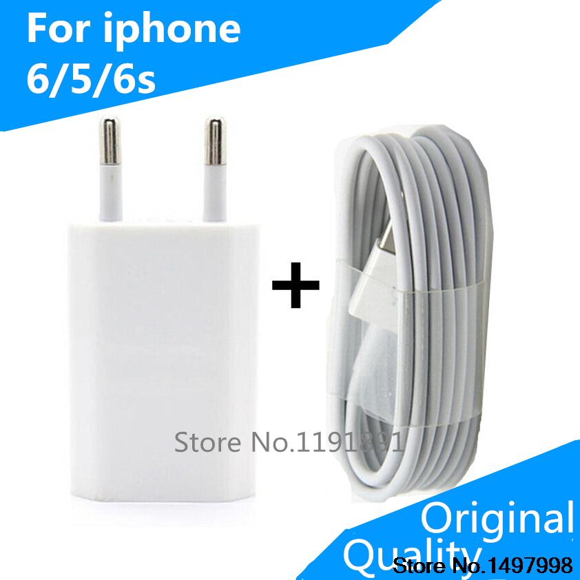 Original quality For Apple Iphone 5 5S 6 PLUS 6s Ipod Wall Charger EU Plug + USB Data Cable For IOS 8 9,Mobile Phone Chargers(China (Mainland))