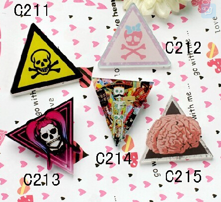 Free shipping new High quality product zipper punk badge brooch trigonometric skull pin fashion gift(China (Mainland))