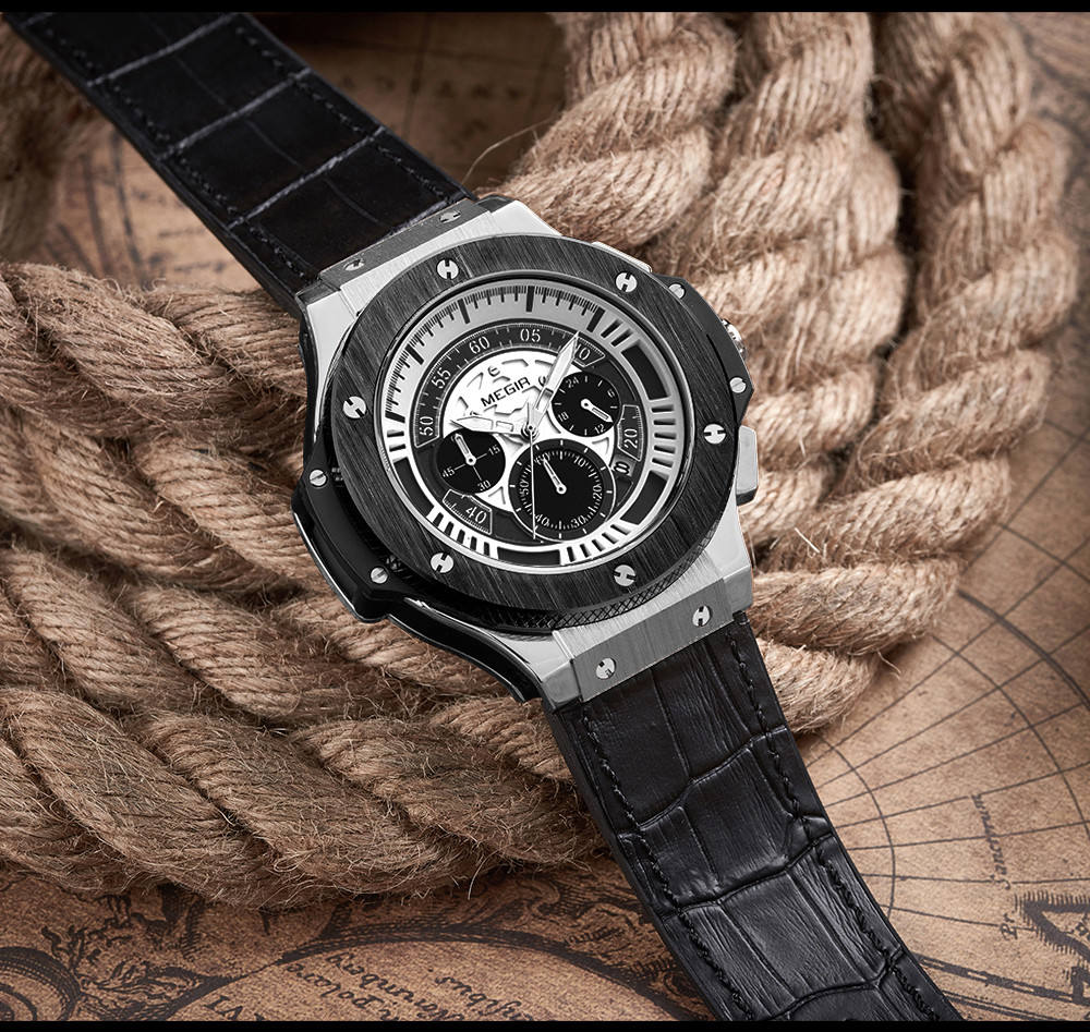 MEGIR Новый Стиль Мужчины Повседневная Часы Хронограф Большой Циферблат 24 Часов Функция Водонепроницаемый Военная Спортивные Часы для Очарование Человек