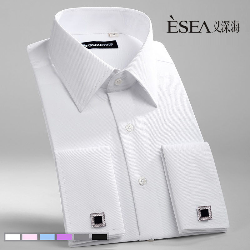 hot Male French cufflinks shirt married shirt slim male long-sleeve easy care shirt solid color men's long sleeve plus size 4xl