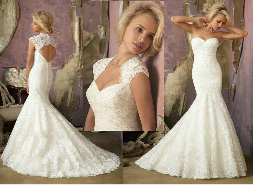 Crazy new sexy mermaid 2014 white ivory lace wedding for Custom mermaid wedding dress