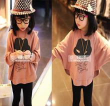 2016 Hot Sale Fashion Cotton Kids Girls Loose Hoodies Clothes Bat Sleeve Baby Girls Clothes Toddler Girls T Shirts Tees 2 To 15Y(China (Mainland))