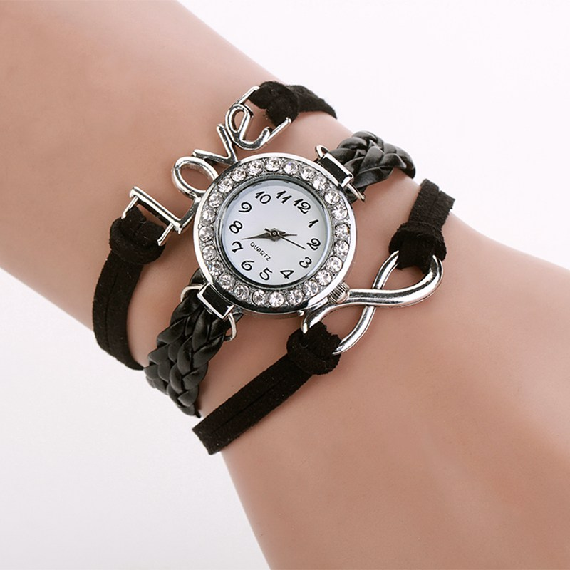 2015 Fashion Watch Women Quartz Watches Love Bracelet Bangle Leather Crystal Dial Analog Wristwatches Female Clock <br><br>Aliexpress