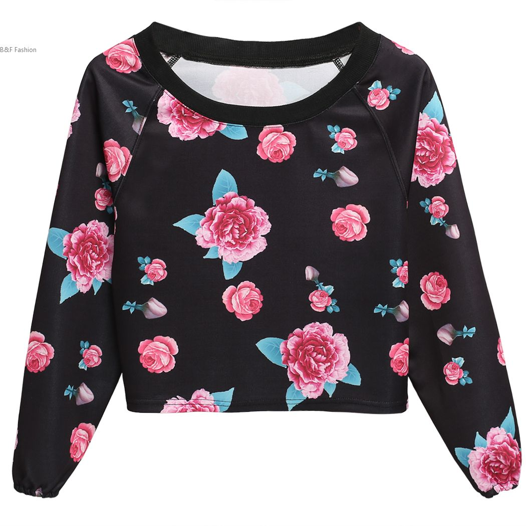 Fashion plus size shirt 2016 new floral print women t for Plus size 3 4 sleeve tee shirts