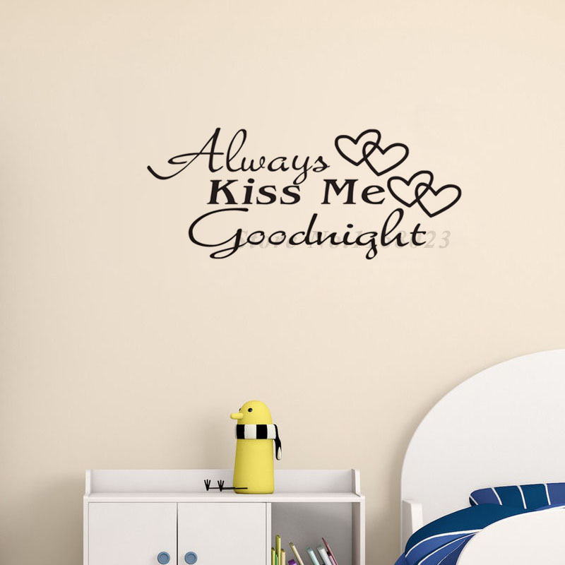 Always Kiss Me Goodnight Love Wall Decals Quote Decorations Living Room Sticker Bedroom Wallstickers Kids Room Decoration(China (Mainland))