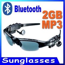 1 SET 2GB Bluetooth Headset Sunglasses Mp3 Player Bluetooth Glasses for Cell Phone + Free Bag(China (Mainland))