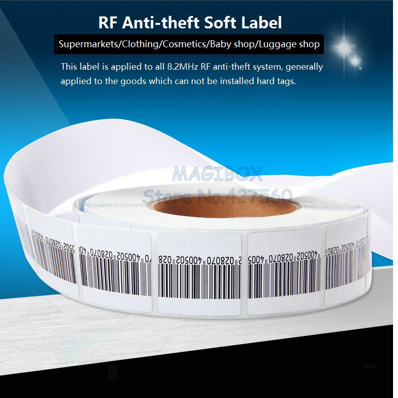 1000pcs/roll  8.2MHz RF Soft Label , Security Anti-theft Tags ,RF Barcode Stickers ,EAS system <br><br>Aliexpress