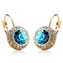 Vintage Fashion Hoop Earrings brinco New Jewelry Unique Round Small Crystal Gold Plated Hoop Earrings For Women Wedding(China (Mainland))