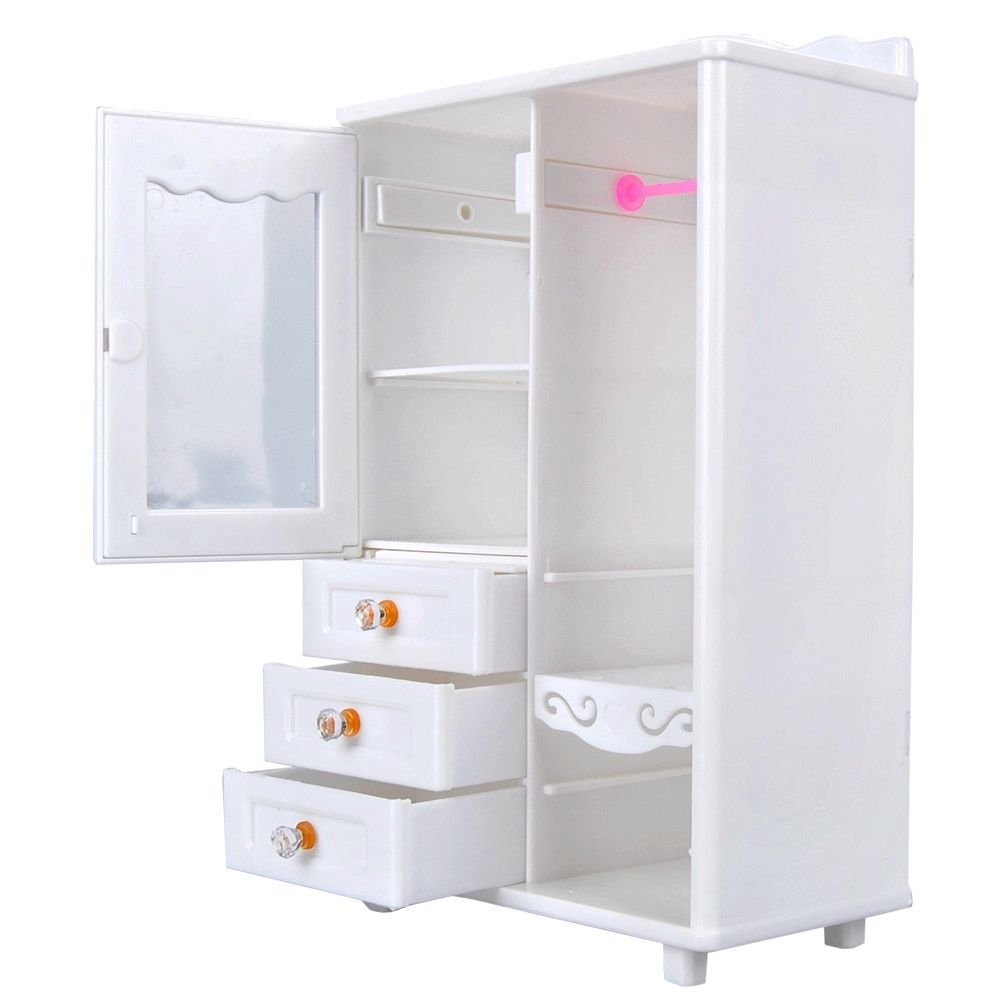 Tremendous Style BDCOLE White Mini Furnishings Wardrobe for Barbie Doll Home Woman Play set Toys 2 Equipment=Wardrobe+10x hangers