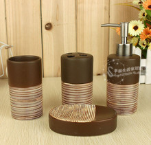 NEW Coffee Colors Ceramic Soap Dispenser/Dish/Toothbrush Holder/Cups 4PCS Set(China (Mainland))