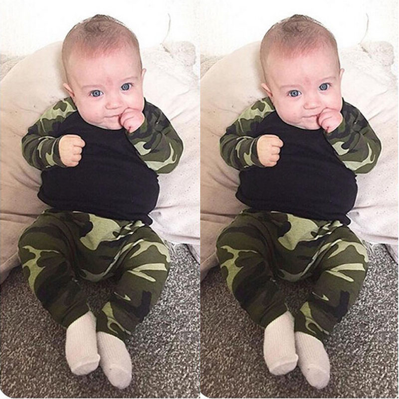 2017 The latest baby clothing Suit cotton cute camouflage clothing 2 (full sleeve + pants) Kids Free Shipping(China (Mainland))