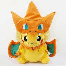 Pokemon Plush Toys 25cm Pikachu XY Charizard Dragon Mega Tokyo Pikazard peluche charizard Plush Stuffed doll Toys Free Shipping(China (Mainland))