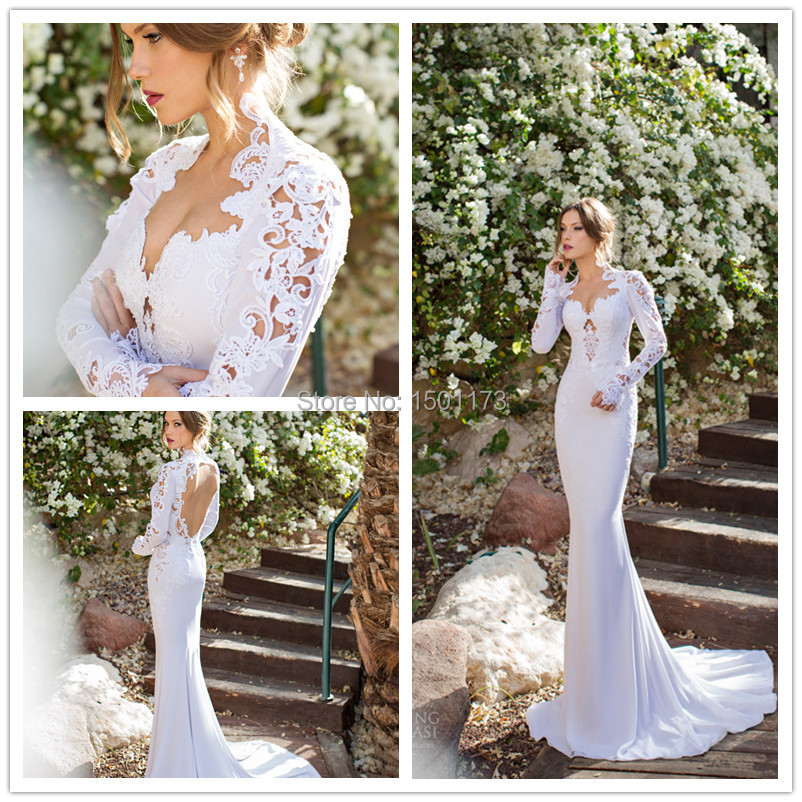 Julie Vino Israel 04 bridal gown v neck wedding long sleeve lace dresses 2014 - Dreamwear Couture store