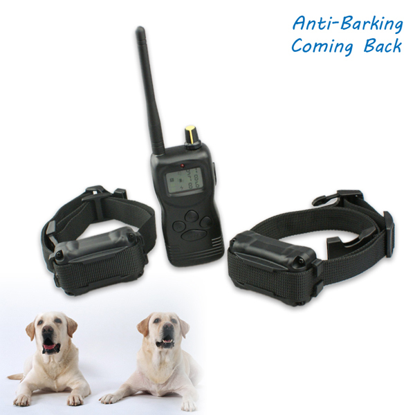 Big LCD Display Training Dog Collar 1000m Remote Control Pet Electric Collar 3 Group Memory For Each Dog For 2 Dogs(China (Mainland))