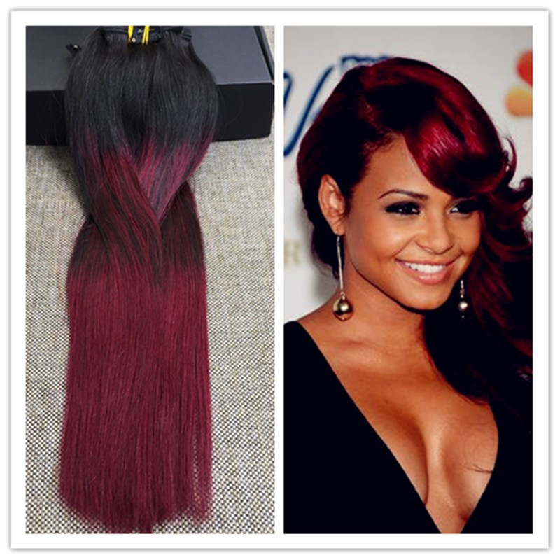 Full Shine Ombre Color 1B Fading to 99J Clip Hair High Quality 14 to 24 Clip ins Extensions 7Pcs Set Full Head Remy Human Hair