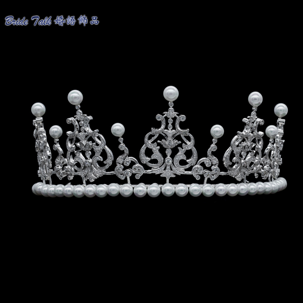 Luxury Royal Crown AAA CZ Clear Tiara Bridal Pearl Wedding Hair Jewelry Accessories Women Pageant Crown TR15108(China (Mainland))