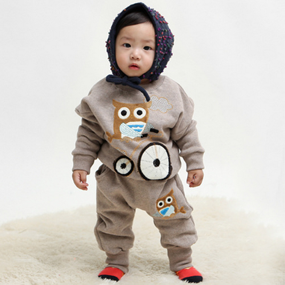 Retail 2015 Autumn style Infant clothes Clothing sets Cute Owl 2pcs(Full Sleeve + Pants) Baby clothes Free Shipping