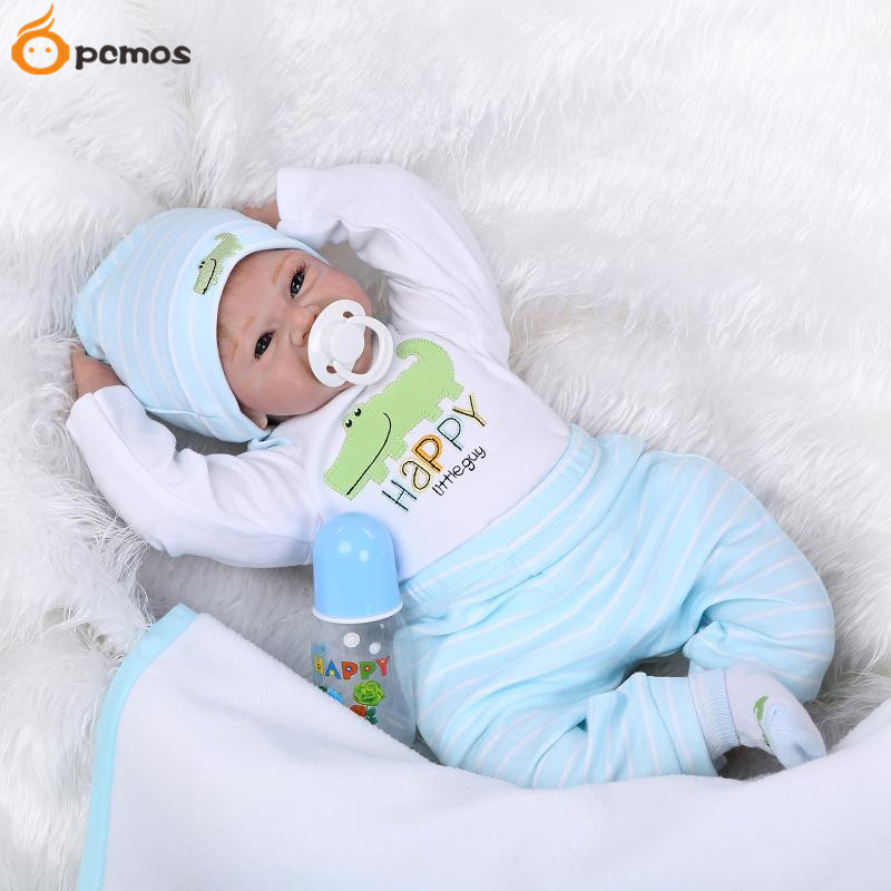 [PCMOS] 55cm/22in Blue Eyes Happy Little Guy Reborn Dolls Soft Touch Silicone Vinyl Baby Toy with Outfit Collection 16021903(China (Mainland))