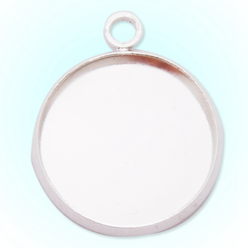 50 pc/lot 16mm Round Necklace Base Blanks Antique Silver DIY Jewelry Findings Bezel Cameo Cabochon Setting Pendant Tray-C1949(China (Mainland))